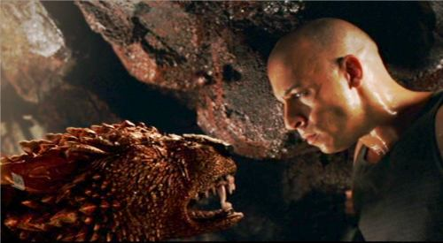 Riddick facing off with a prison dog