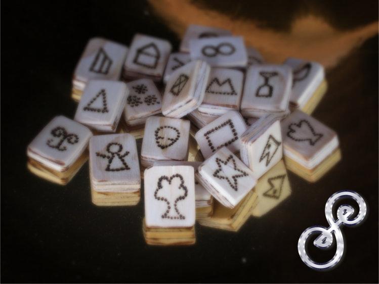 Genius Symbol set in wood