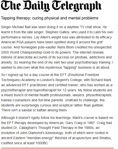 EFT in the Daily Telegraph