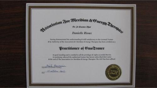 AMT EmoTrance Certificate