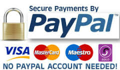 Payments accepted by Paypal, Visa, Mastercard, Maestro, Solo