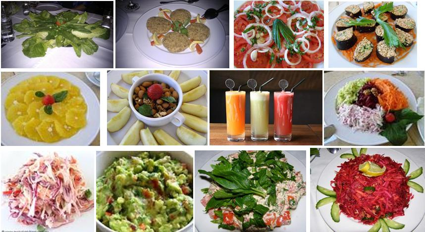 Delicious detox menu of raw foods and juices