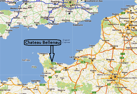 Location of Chateau Bellenau in Normandy France