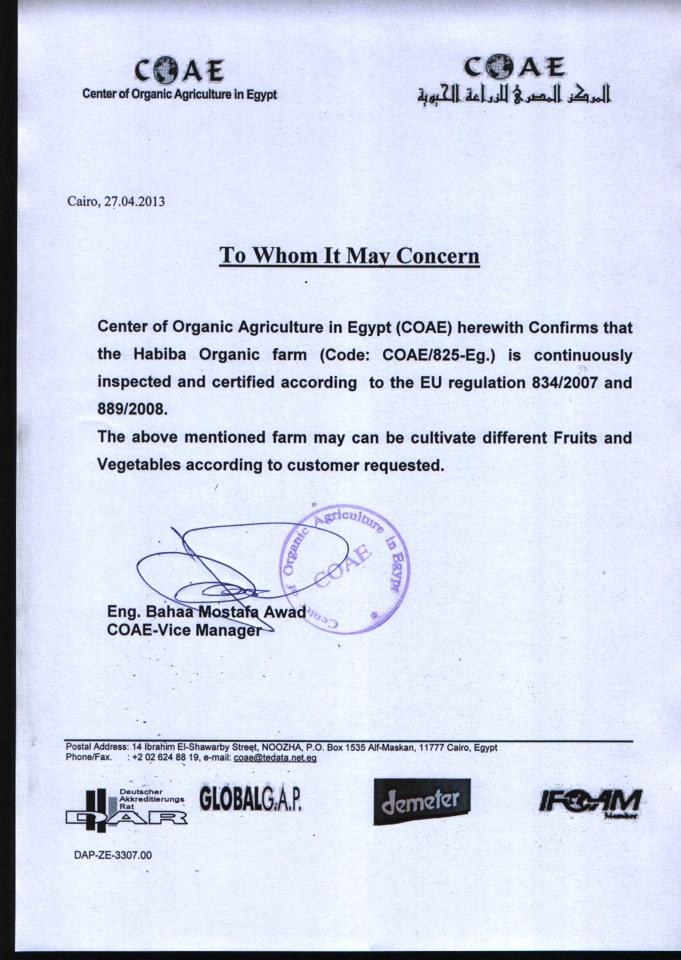 Habiba's Organic Certification
