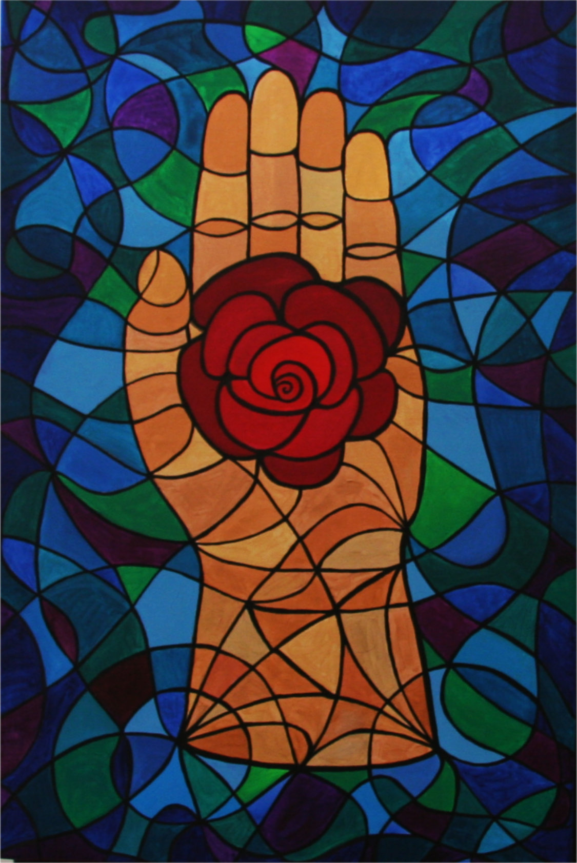 Rose in the hand symbol painting