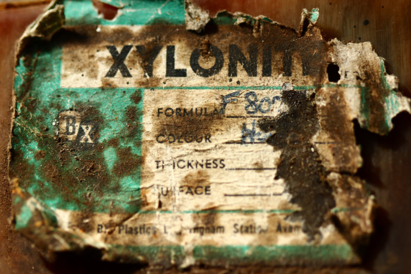 Xylonite manufacturer's label