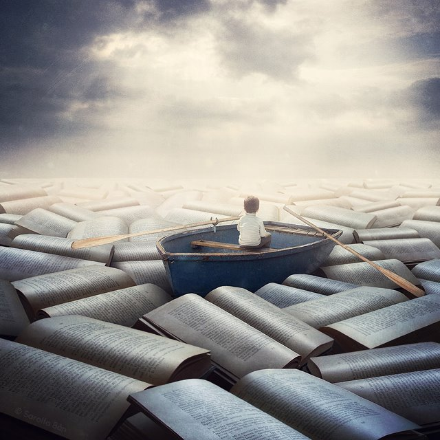 The Boy On The Sea Of Books