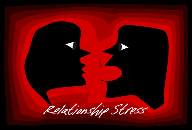 Relationships Stress Illustration - woman and man shouting at each other