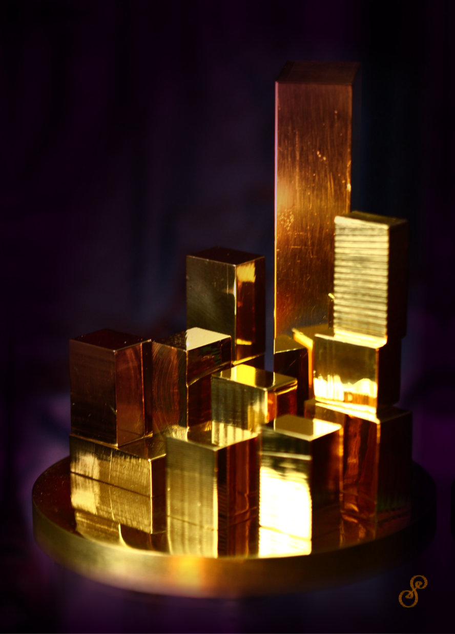 City of Gold Sculpture on dark background
