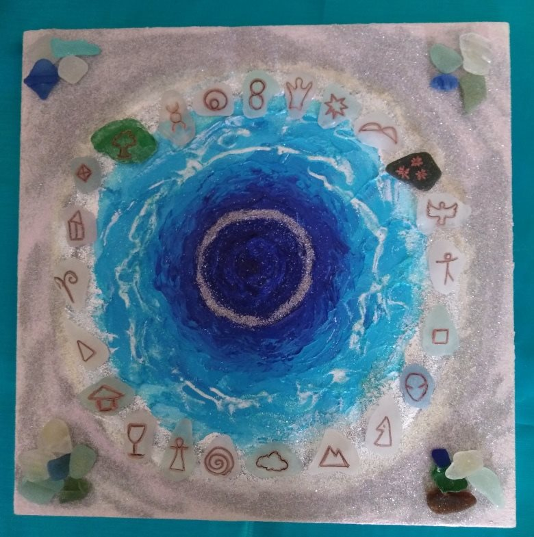 See Glass Energy Symbol Set on sparkly ocean gameboard by Dee Godfrey
