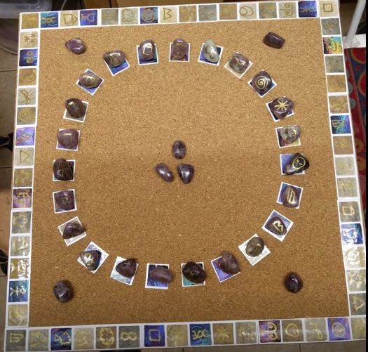 Lepidolite Energy Symbols Set on Gameboard
