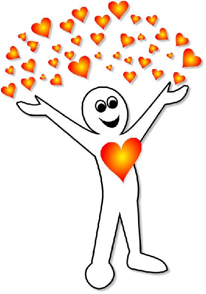 Happy energy body mens with hearts